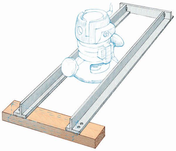 Router Dado Jig In the course of my work as a contractor, I often need to build cabinets and bookshelves on site – without the luxury of shop tools. I gave up on the flimsy router fence supplied with the machine and made the jig shown in the sketch. The router base now slides between two fixed aluminum guides with no chance of slippage or accident. I used some salvaged …