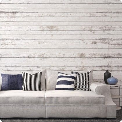 White timber panel wallpaper by The Wallpaper Company