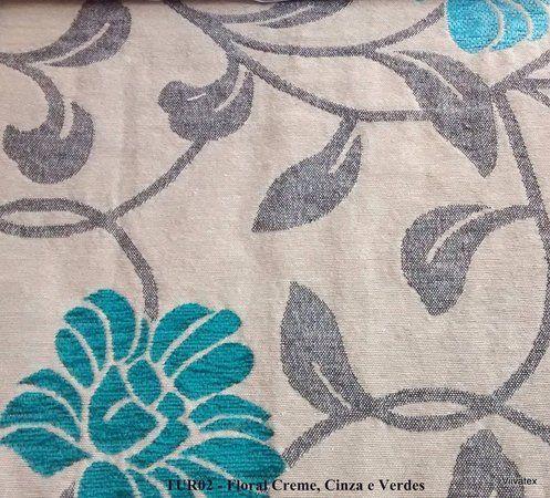 Tecido para sofa chenille Floral Palha, Azul Piscina - Turim 04                                                                                                                                                                                 Mais