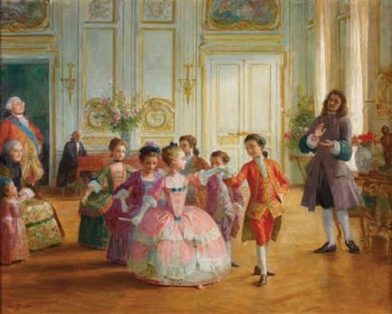 """""""La leçon de danse"""". Victor Gabriel Gilbert (1847-1933), French painter."""