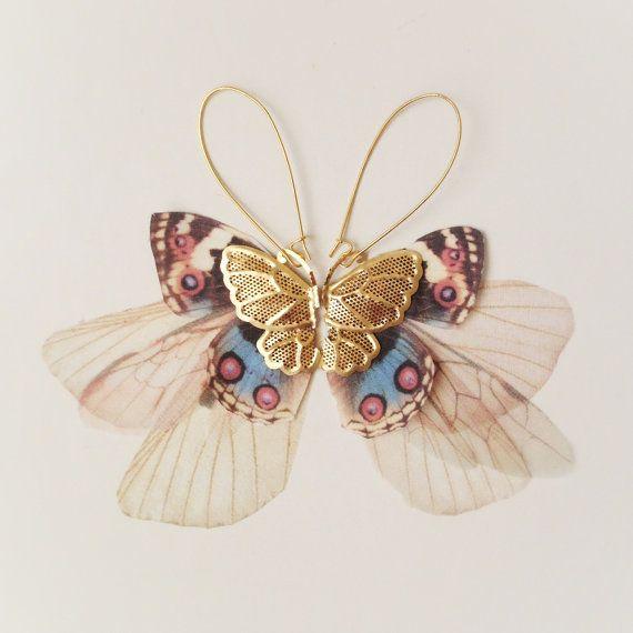Golden Wings Fluttery Cluster Long Butterflies Earring - Organza and Silk