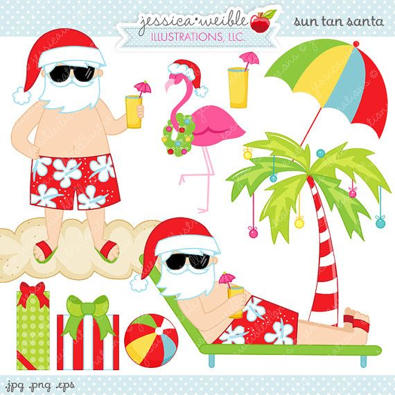 Sun Tan Santa Cute Digital Clipart - Commercial Use OK - Christmas Clipart, Tropical Christmas, Beach Christmas, Beach Santa