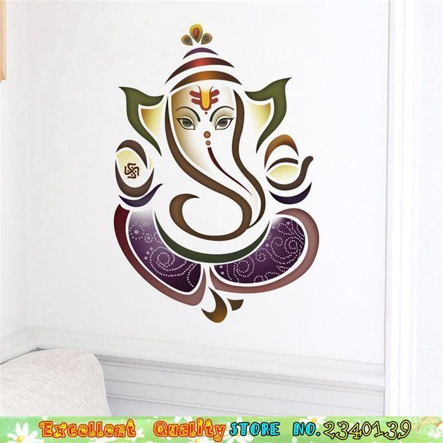 Tailandés tailandia elefante de oro indio ganesha pared pegatinas salón dormitorio arte mural tatuajes de pared diy pegatinas de pared decoración para el hogar