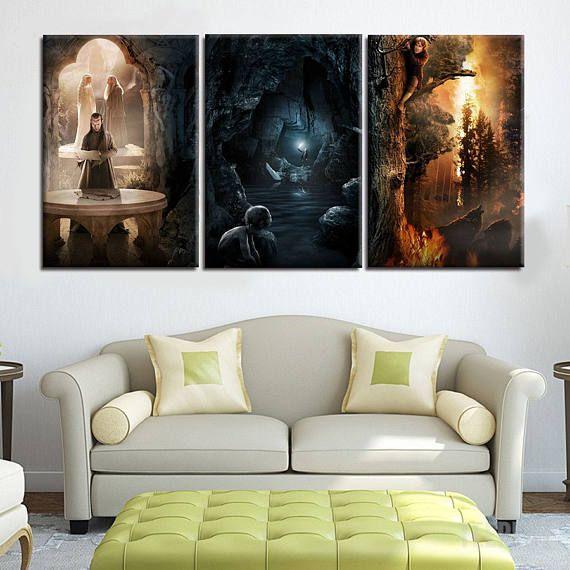 Frames uit The Lord of The Rings-trilogie - 3 stuk Canvas Wall Art | Lord of The Rings Wall Art | Schilderij | Poster | Afdrukken | Muurschildering | Sticker