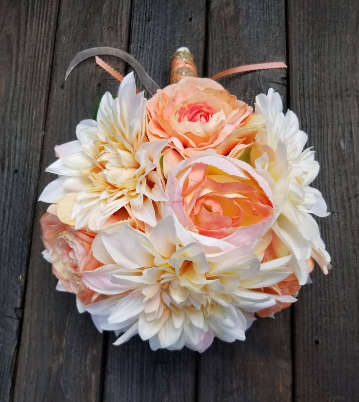 Peach Garden Rose Boutonniere peach garden rose boutonniere with greens coral bouquet rustic