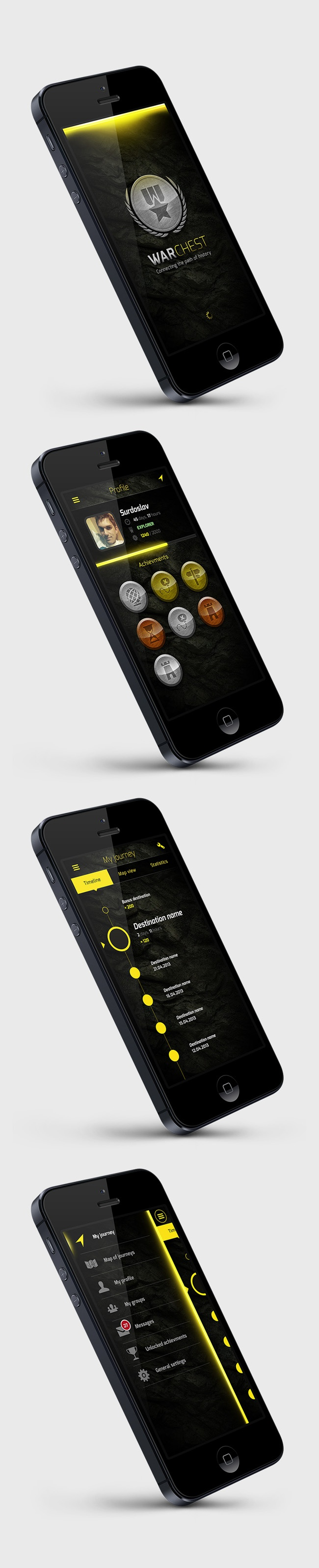 WarChest  Study by Martin Schurdak, via Behance *** few screens of a touristic app