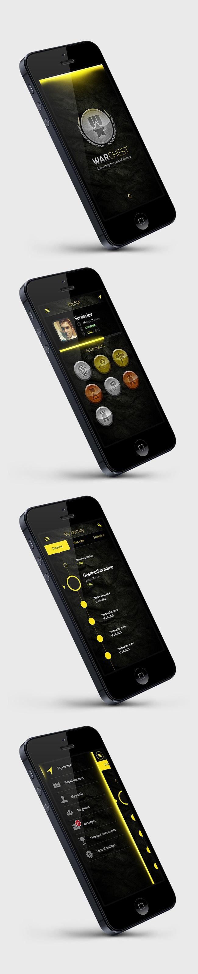 WarChest  Study by Martin Schurdak, via Behance *** few screens of a touristic app