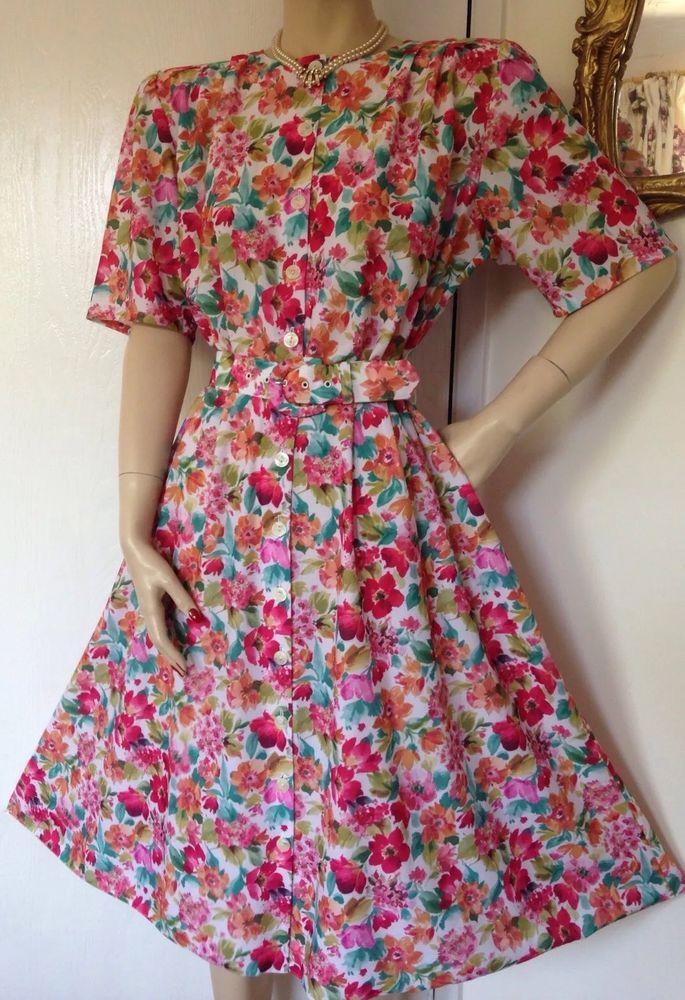 Vtg St Michael 80s Floral Dress 40s 50s Tea Dance Landgirl