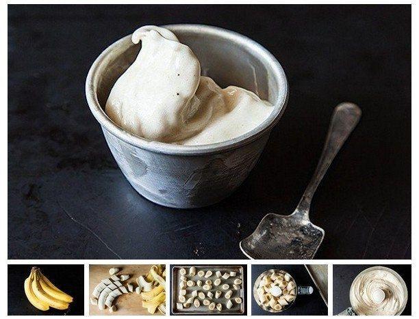 Удивительное мороженое из одного ингредиента  Нужна всего-то связка бананов! Так просто - очистите бананы от кожуры. Разрежьте их на мелкие кусочки. Сложите на тарелку и замораживайте 1-2 часа в морозильнике. Затем просто измельчите бананы в кухонном комбайне. Можете попробовать добавить другие фрукты, ореховое масло или шоколад. Просто, вкусно, низкокалорийно!!! Попробуйте!