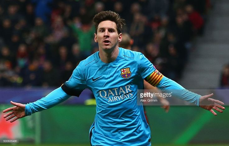 Lionel Messi of Barcelona celebrates scoring the first Barcelona goal during the UEFA Champions League Group E match between Bayer 04 Leverkusen and FC Barcelona at BayArena on December 9, 2015 in Leverkusen, Germany.