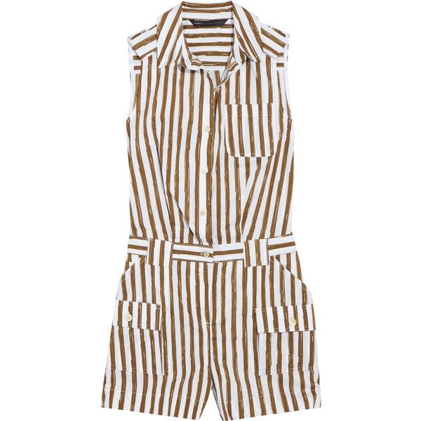 Marc by Marc Jacobs Striped cotton-blend playsuit (655 MYR) ❤ liked on Polyvore featuring jumpsuits, rompers, army green, playsuit romper, army green romper, striped rompers, stripe romper and marc by marc jacobs