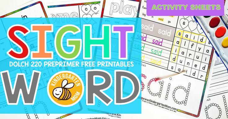 Each of these free sight word activity sheets will help guide your children to sight word mastery. These fun and colorful pages feature 1 of 40 Dolch pre-primer sight words. Circling, searching, writing and daubing are a few of the interactive ways these fun activity sheets will help with learning.  Laminate the sheets and use …