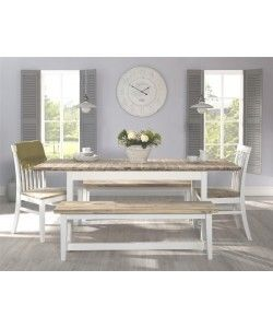 Table bench with acacia seat, 140cm long - WHITE
