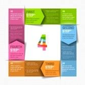 Four consecutive steps cycle design template stock photography
