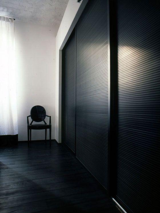 All black interior modern black and white house.