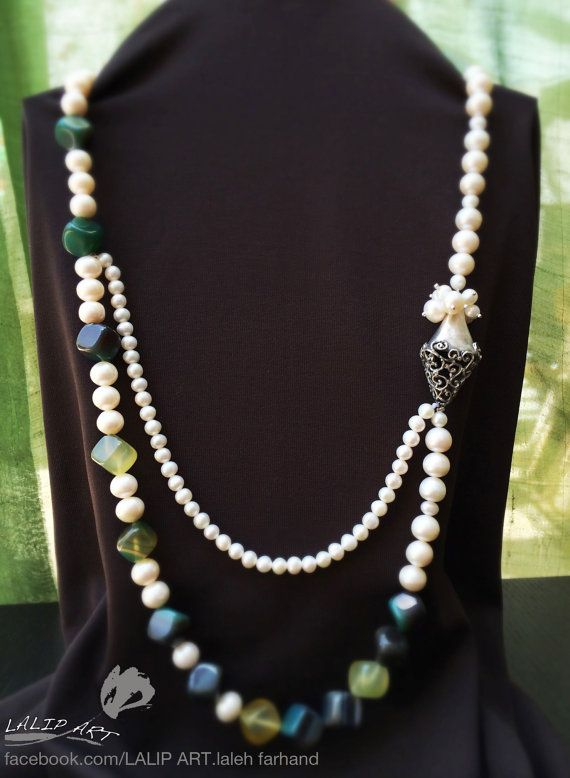 Silver hand made necklace with agate stones and pearls.This necklace is fully handmade and silver part made by art clay type silver which is 999.99 karat.designed and made by LalipArt