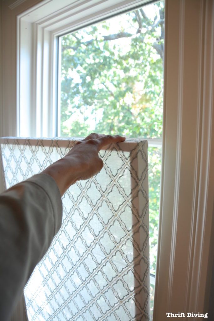 How to Make a DIY Window Privacy Screen. Materials needed: wood for frame, tape measure to measure windows, sheer fabric, hot glue or spray adhesive. No screws, nails, or hardware to attach it! Moves up and down and held in place when wedged into the window. Get tutorial and video on the blog. Thrift Diving