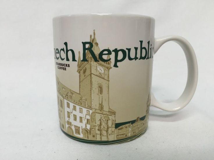 Starbucks City Coffee Mug Czech Republic 2014 Dark Green Tan 16oz Cup #Starbucks