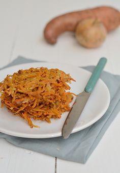 Super healthy receptje voor zoete aardappelrösti met slechts een handvol ingrediënten. Lekker!