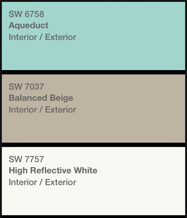 Nursery color palette. Beige walls, with aqua accent and stencil, and white trim.