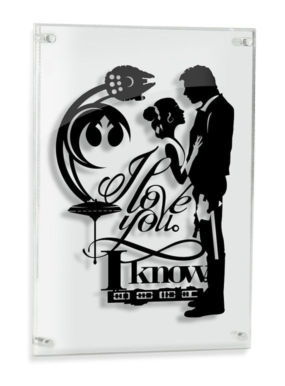 I love you I know Han and Leia - Star Wars silhouette handcut paper craft from one black sheet  SIZE: 14x20