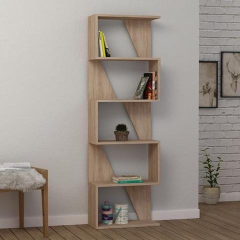 Modern Contemporary Bookcase Bookshelf In Oak White Mocha
