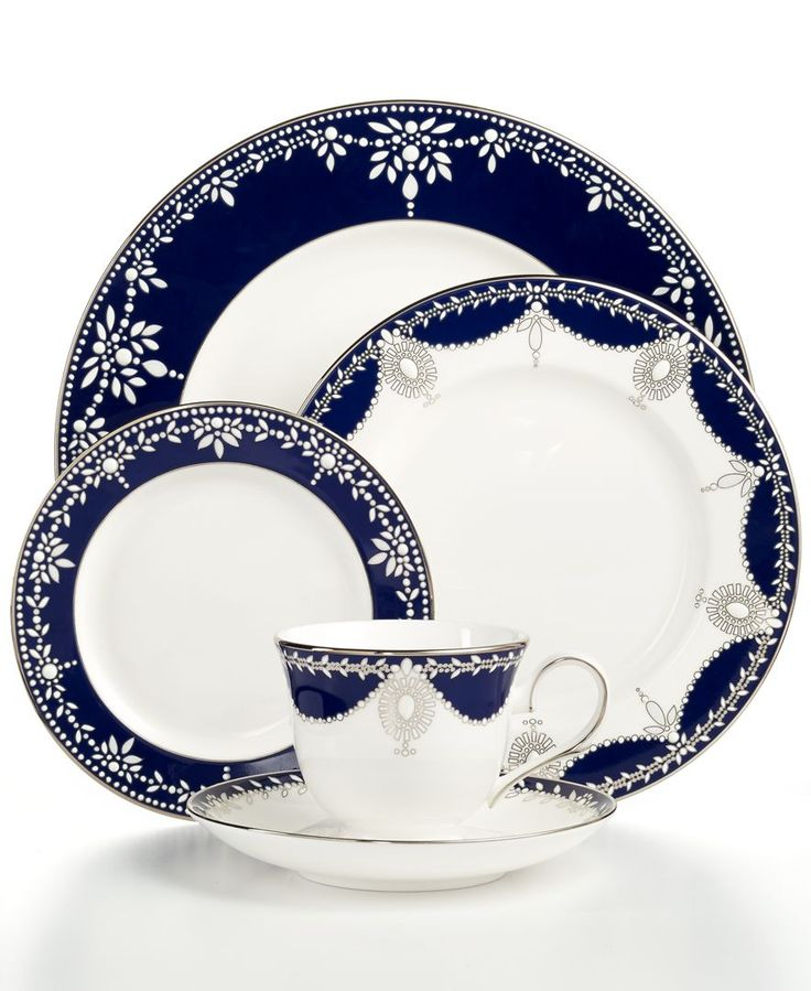A show-stopping place setting from Marchesa by Lenox, this Empire Indigo dinnerware wows everyone around the formal table with bedazzling platinum patterns in fine bone china. A gracefully shaped cup,                                                                                                                                                                                 More
