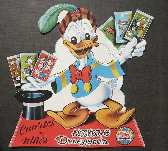 Vintage des années 1960 DONALD DUCK espagnol affiche publicité. Affiche publicitaire. Années soixante. Dessin animé de Walt Disney. Plus de 50 ans