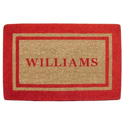 """Personalized Low Profile Double Picture Frame Doormat 30"""" X 48"""", Red"""