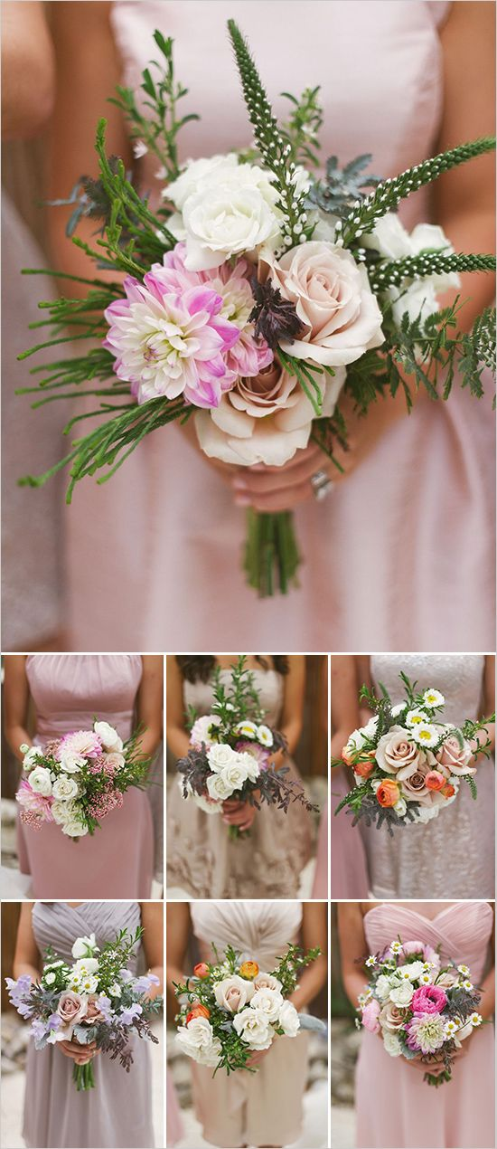 Bridesmaids bouquet ideas. Floral Design: Rosehip Floral ---> http://www.weddingchicks.com/2014/05/29/vintage-reception-with-steal-worthy-ideas/