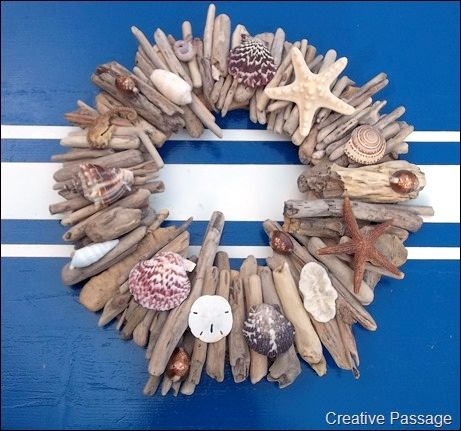DIY Pottery Barn Copy Driftwood And Shell Wreath !