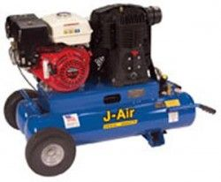 J-Air Compressors J103H5-16P 16-Gallon 5.5-HP Portable Gas Air Compressor (Honda Engine)   Two wheel twin tank   Engine: Honda GX-160 Displacement (cc): 163 Engine RPM: 3450 Horsepower: 5.5 Fuel Capacity (gallons): 0.95 Oil Capacity (quarts): 0.63 Ignition System: Transistorized Magneto   Tank (gallons): 16 Number of Cylinders: 2 CFM @ 90 psi: 9.5 CFM @ 100 psi: 9 CFM @ 125 psi: 8.2   Approximate Tool Weight (lbs): 155 Dimensions (L x W x H) (in): 44 x 24 x 24  $1,247.50