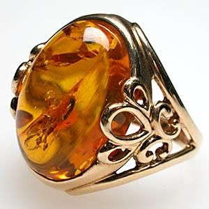 Amber And 14k Gold Ring.