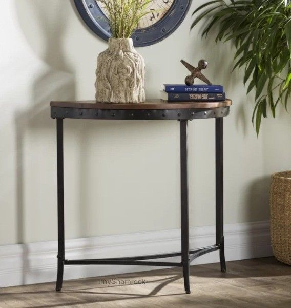 Console Table Industrial Style Half Moon Iron Wood Entryway Hall