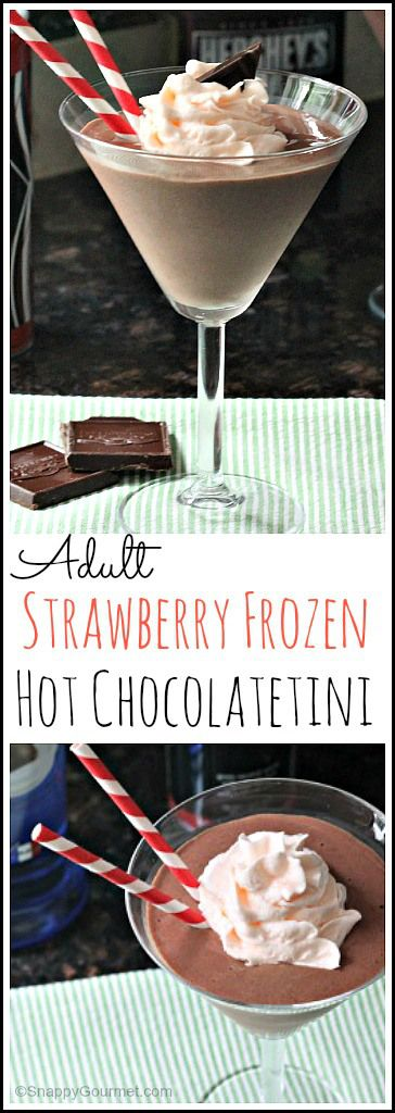 Adult Strawberry Frozen Hot Chocolatetini recipe - easy chocolate dessert cocktail drink recipe | SnappyGourmet.com