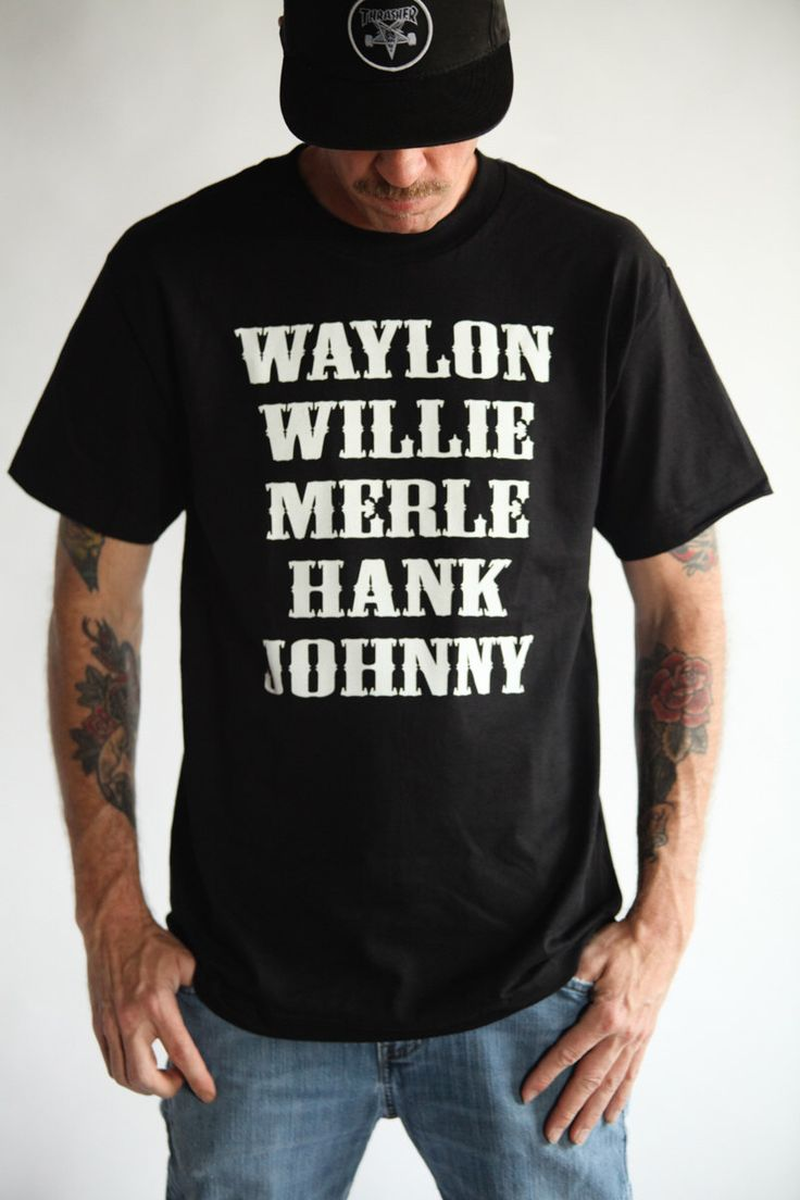 THE ORIGINAL Waylon Jennings Merle Haggard Willie Nelson Hank Williams Johnny Cash Country Legend (Hand Screen Printed) Tribute T-Shirt by DirtyMackMfg on Etsy https://www.etsy.com/listing/220690989/the-original-waylon-jennings-merle