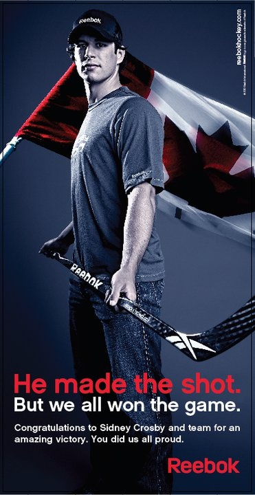 Sidney Crosby Canadian Gold in the Olympics.  Reebok poster
