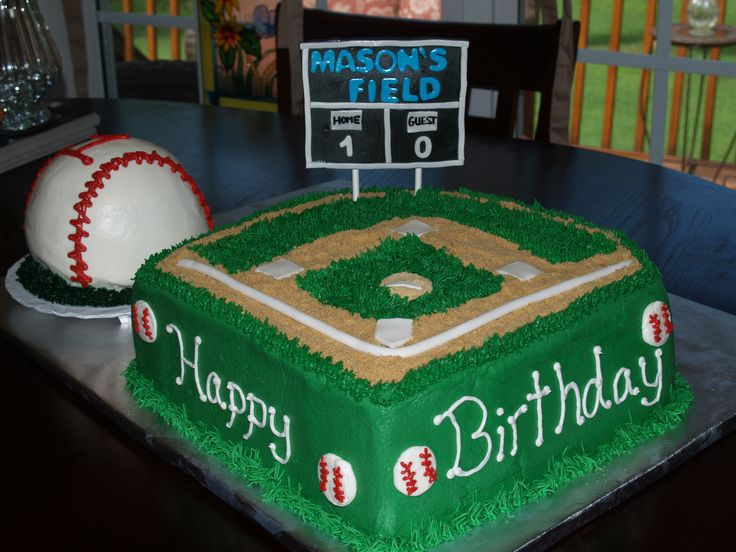 Baseball Field Birthday Cake - Baseball Field with baseball smash cake for 1 year old Birthday Party. Graham cracker brown sugar sand. Gumpaste sign on lollipop sticks.