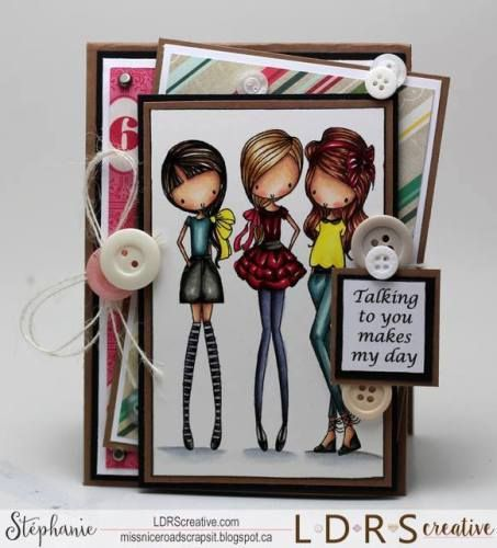 Little Darlings All Dressed Up Girls Night Out Rubber Stamp