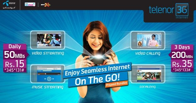 Telenor internet packages containing all Telenor 3G packages and Telenor 4G packages. Telenor 3G and Telenor 4G has a big share in Pakistan TC market.