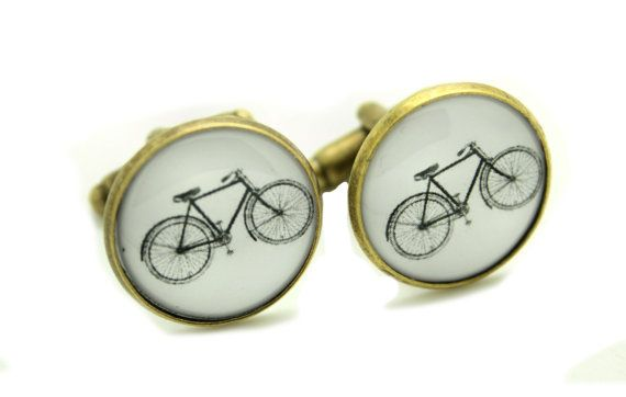 Vintage Bicycle Bike (White) Retro Cool Cufflinks - Gift boxed - Ready to Gift Groomsmen Ushers Wedding Party Present for Him