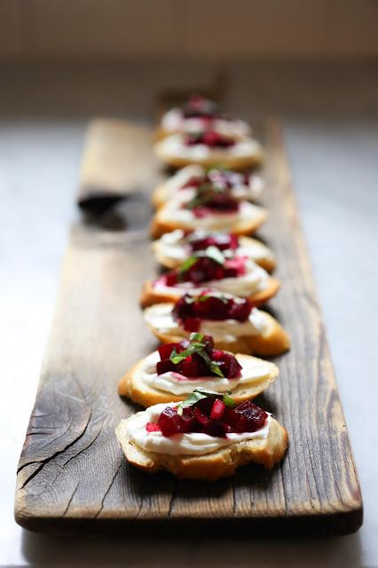 Feasting at Home: Beet Bruschetta with Goat Cheese and Basil - a simple, festive appetizer!