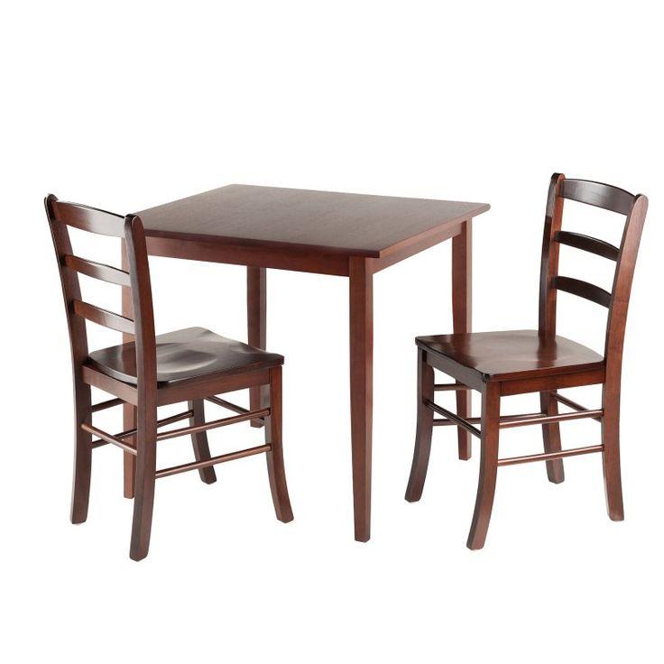 Winsome Groveland 3 Piece Small Dining Set - Antique Walnut - 94332