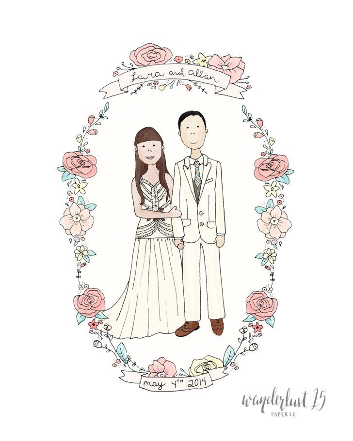 A Custom Sketch Couple PortraitsWedding