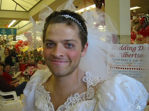 Misha Collins. Renewing his wedding vows. In drag. At Albertsons. And he still cried half his mascara off.