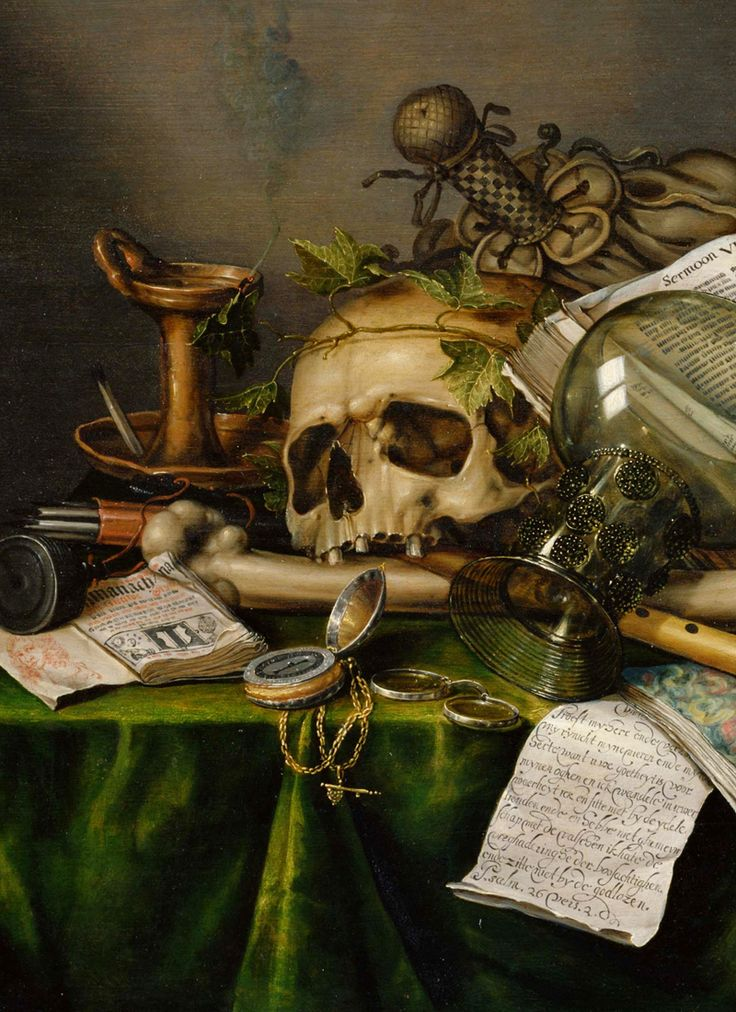 Edwaert Collier - Vanitas: Still Life with Books and Manuscripts and a Skull (detail)