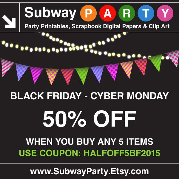 BLACK FRIDAY starts now! Buy any 5 items in my Etsy shop and get 50% off with coupon code: HALFOFF5BF2015 https://www.etsy.com/shop/subwayParty #partyprintables, #scrapbook, #digitalpaper
