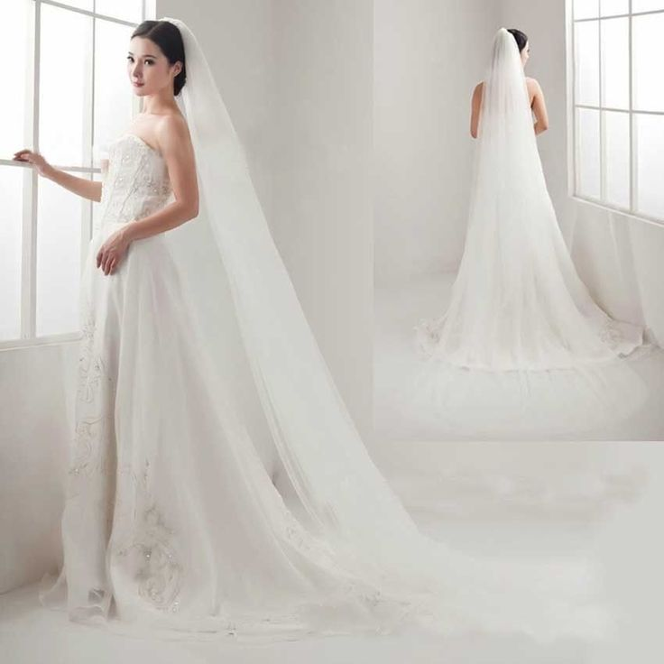 2.8m 2 Tiers White Cathedral Soft Tulle Organza Wedding Bridal Veil With Comb