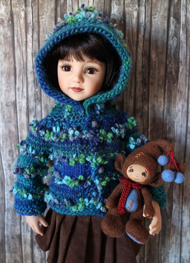 Maru with a knitted outfit I've made for her. Maru & Friends