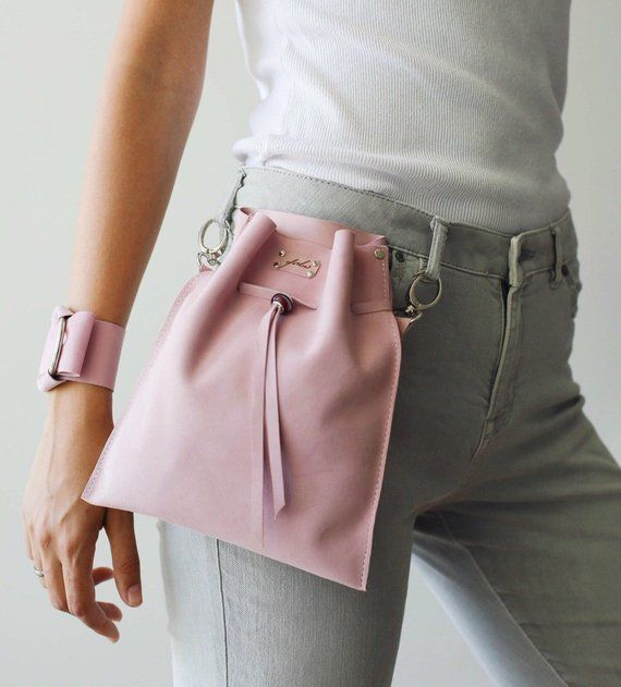 Pink Fanny Pack, Leather Waist Bag, Pink Waist Bag